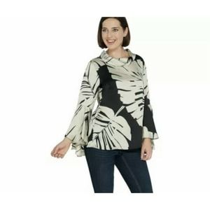 Dennis Basso 16 Placement Print Charmeuse Top